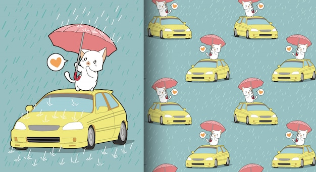 Gato kawaii sem costura está protegendo o padrão de carro Vetor Premium