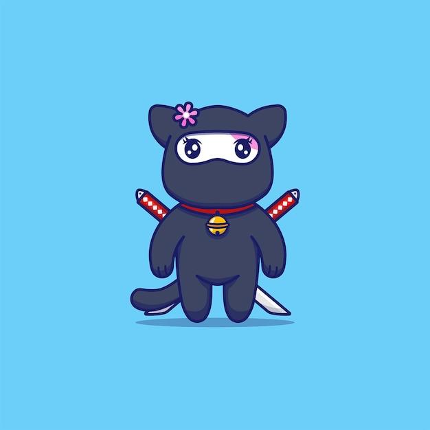 Gato malhado fofo com fantasia de ninja Vetor Premium