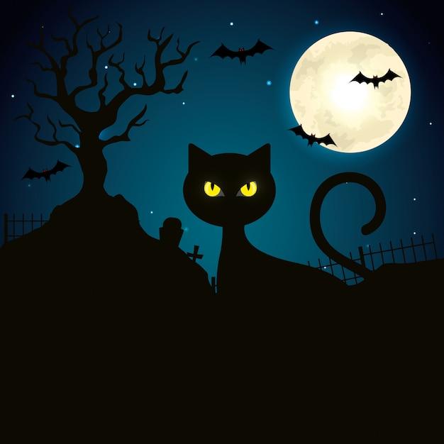 Gato na noite escura ilustração de cena de halloween Vetor Premium