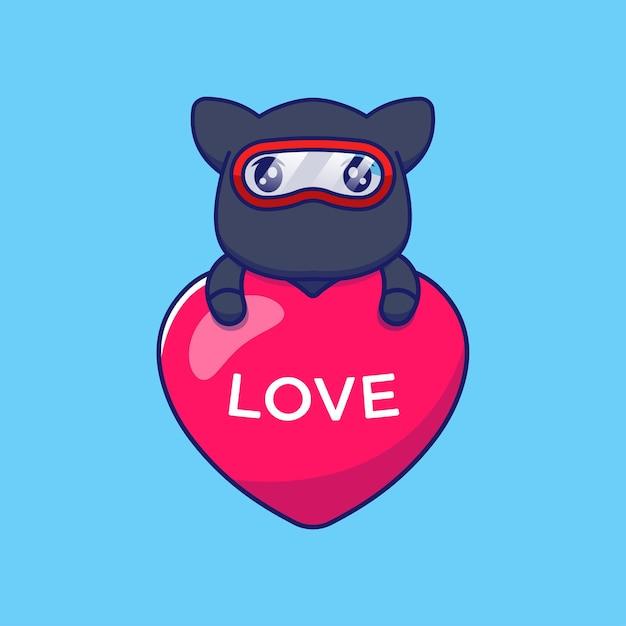 Gato ninja fofo abraçando um balão do amor Vetor Premium