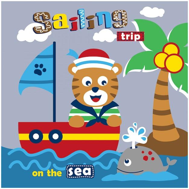 Gato o marinheiro no mar cartoon animal engraçado Vetor Premium