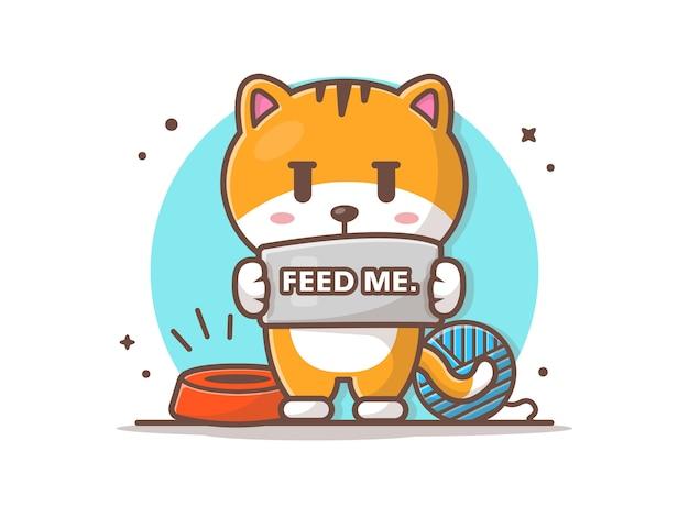 Gato pedir para alimentar ilustração Vetor Premium