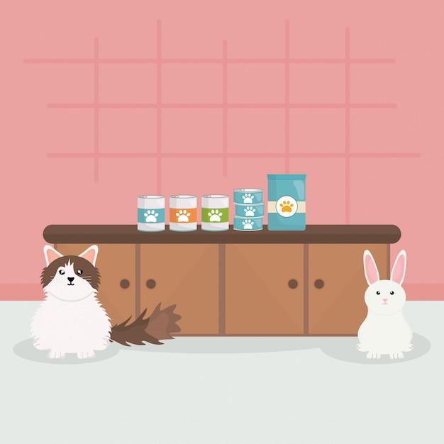 Gato pequeno bonito e coelho em veterinária Vetor Premium