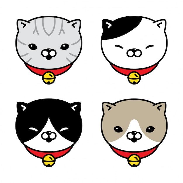 Gato personagem gatinho chita peixe colarinho sino desenhos animados Vetor Premium