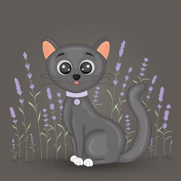 Gato preto bonito dos desenhos animados sobre fundo floral lavanda. cartão postal com gatinho em casa, com pernas pretas e olhos grandes. ilustração de crianças para livros. Vetor Premium