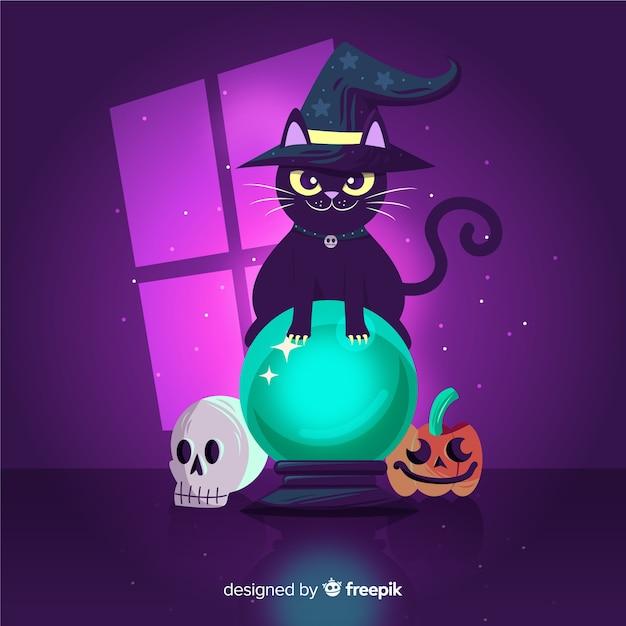 Gato preto com esfera de cristal de bruxa Vetor grátis