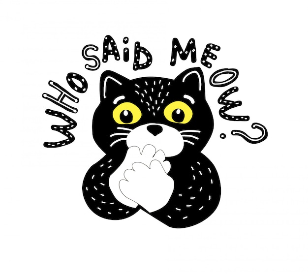 Gato preto dos desenhos animados e letras de vlog Vetor Premium