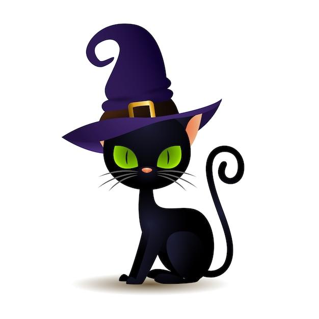 Gato preto no chapéu de bruxa Vetor grátis
