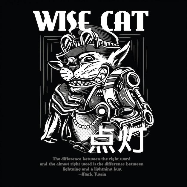 Gato sábio preto e branco Vetor Premium