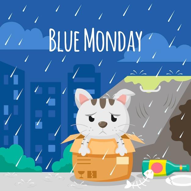 Gato triste na segunda-feira azul Vetor grátis