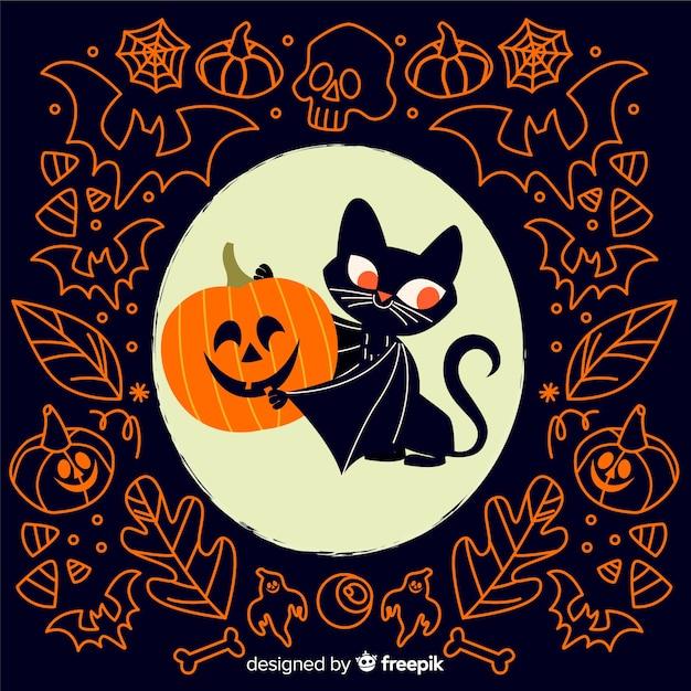 Gato vampiro com abóbora plana fundo halloween Vetor grátis
