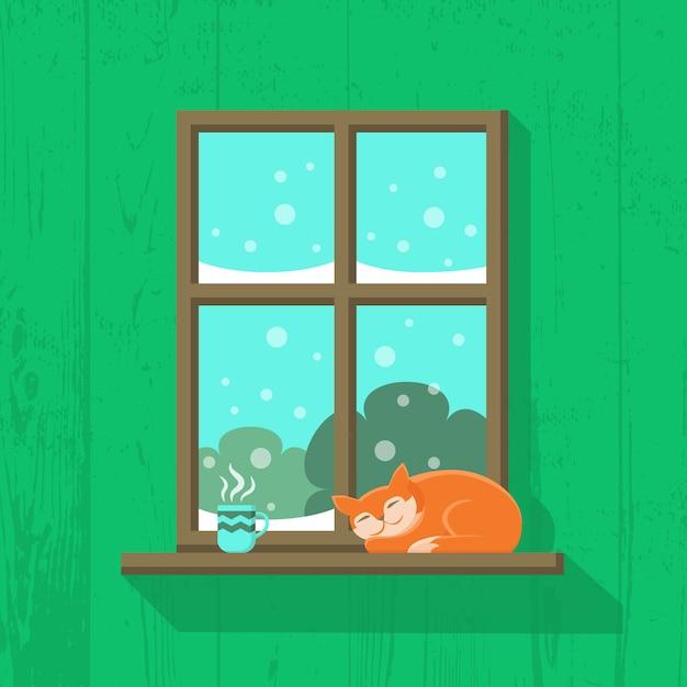Gato vermelho está dormindo e uma xícara de café quente ou chá está de pé no peitoril da janela Vetor Premium