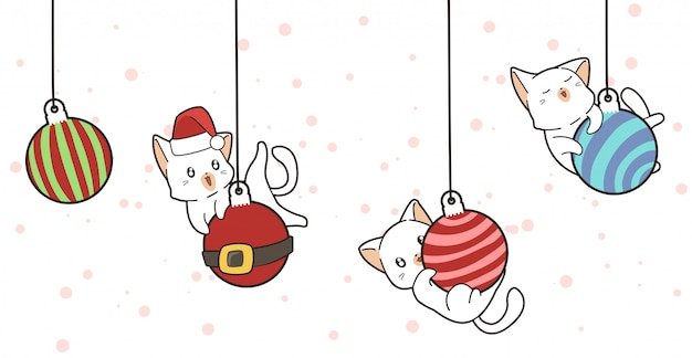 Gatos adoráveis e bolas de natal Vetor Premium