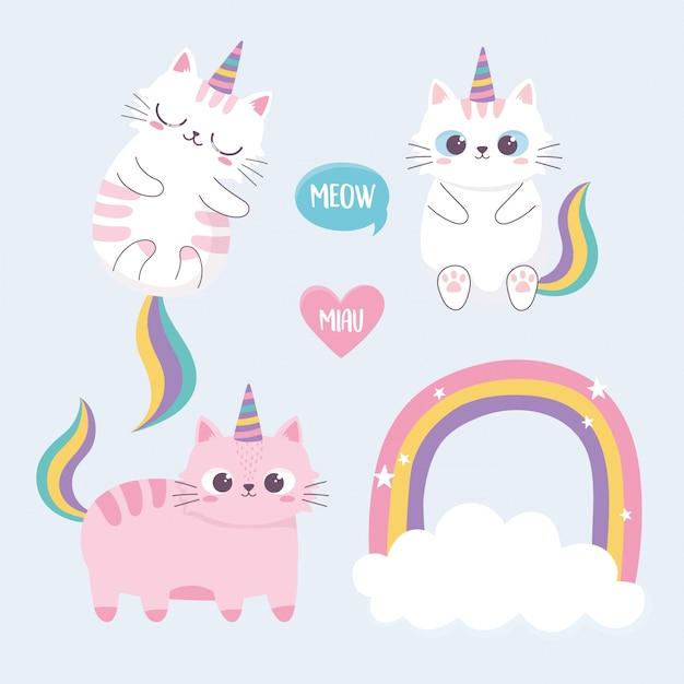 Gatos bonitos arco-íris chifre nuvem cartoon animal personagem engraçada Vetor Premium