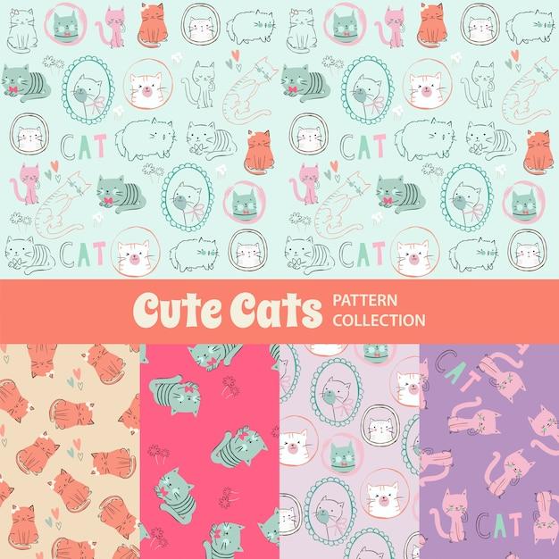 Gatos bonitos bonito padrão sem emenda de arco-íris Vetor Premium