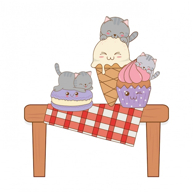Gatos bonitos com sorvete e cupcake kawaii Vetor Premium
