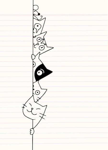 Gatos bonitos doodle se esconde atrás da parede, desenho de desenhos animados Vetor Premium