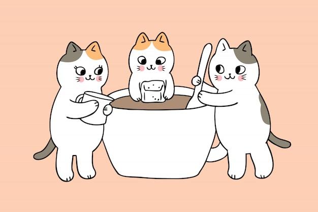 Gatos bonitos dos desenhos animados e vetor do copo de café. Vetor Premium