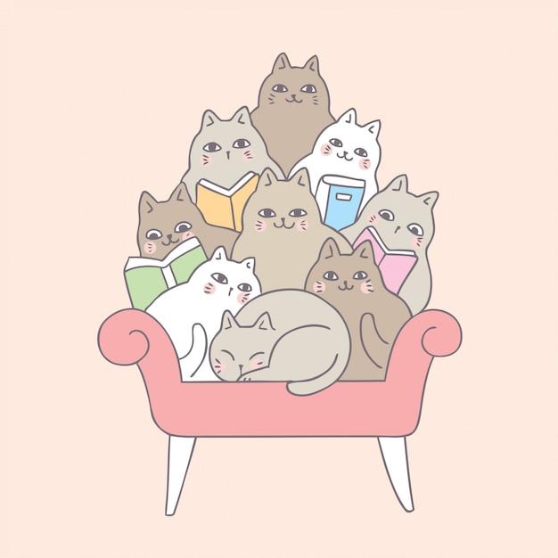Gatos bonitos dos desenhos animados que leem no sofá. Vetor Premium