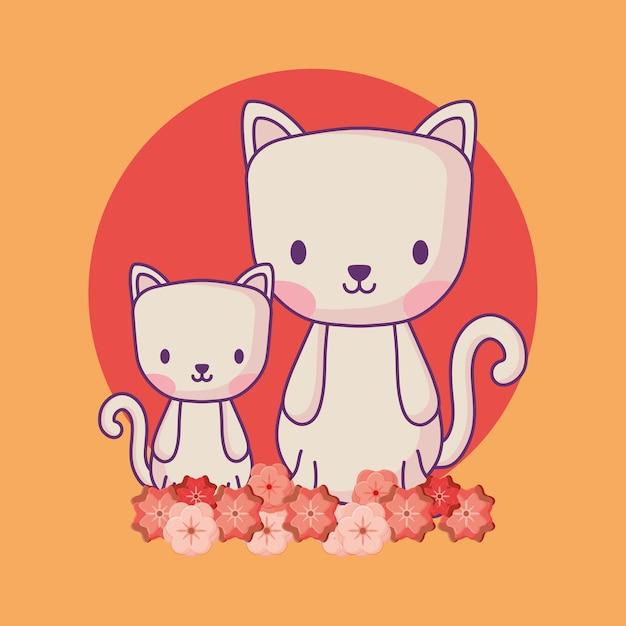 Gatos bonitos e lindas flores Vetor Premium