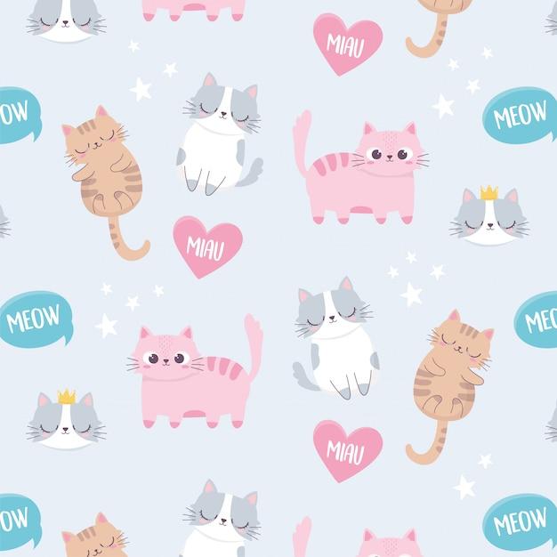 Gatos bonitos miar amor animais de estimação cartoon animal personagem engraçada Vetor Premium