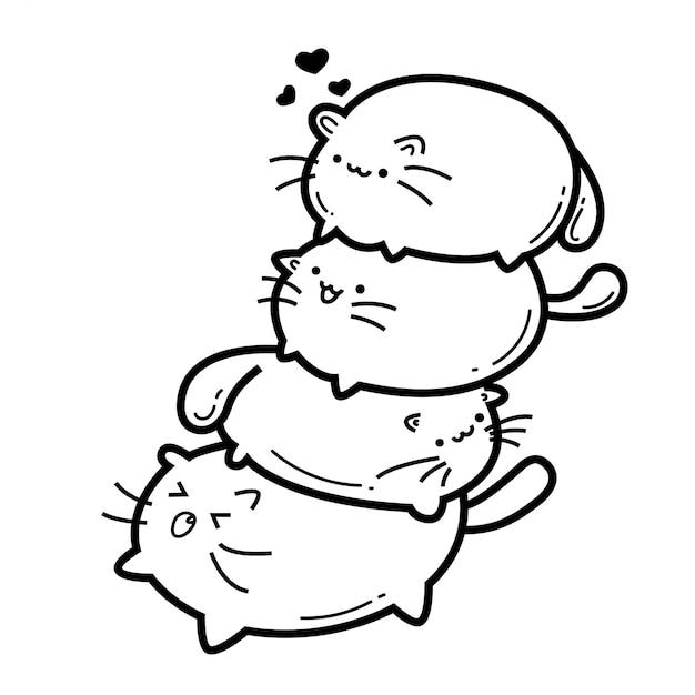 Gatos bonitos monstro doodles Vetor Premium
