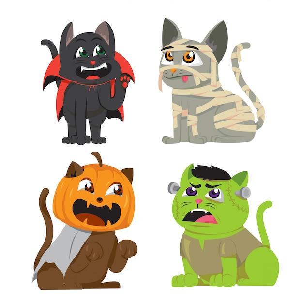 Gatos de halloween em conjunto de fantasia Vetor Premium