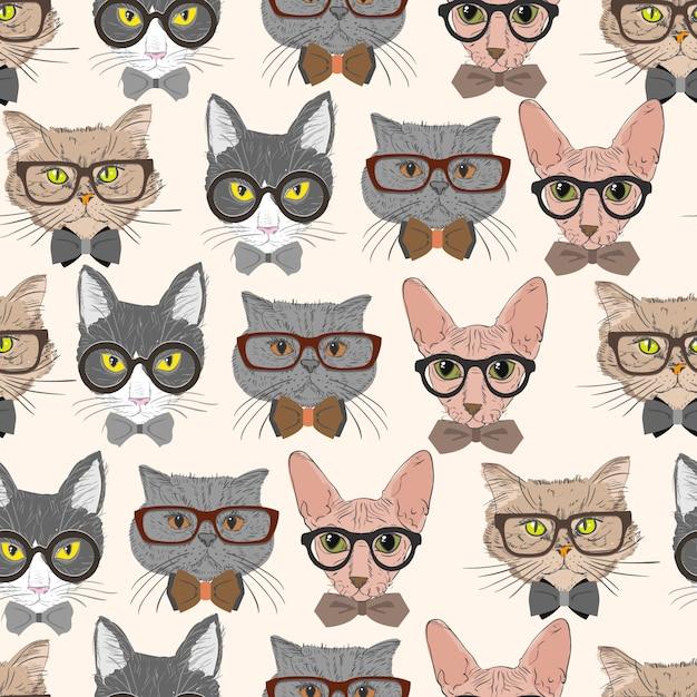 Gatos de hipster sem costura de fundo Vetor grátis
