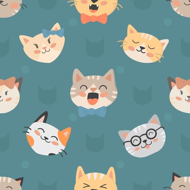 Gatos de hipster sem costura padrão vector illustration Vetor Premium
