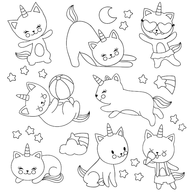 Gatos de unicórnio voador bonito mão desenhada. personagens de desenhos animados vetor para crianças colorir livro Vetor Premium