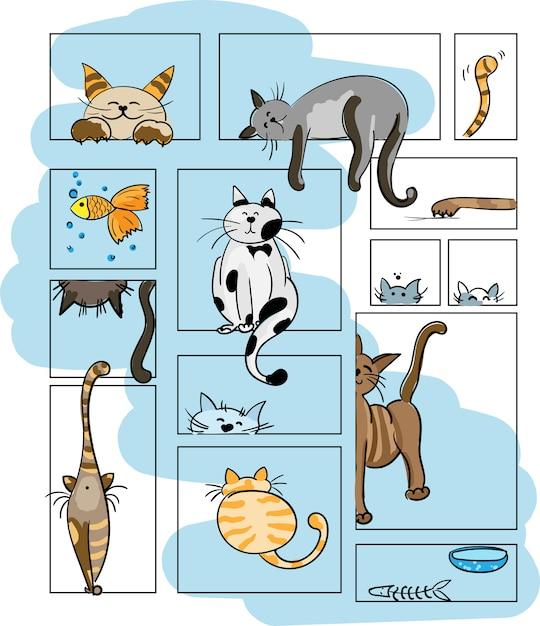 Gatos de vetor. definir caracteres. gato fofo Vetor Premium