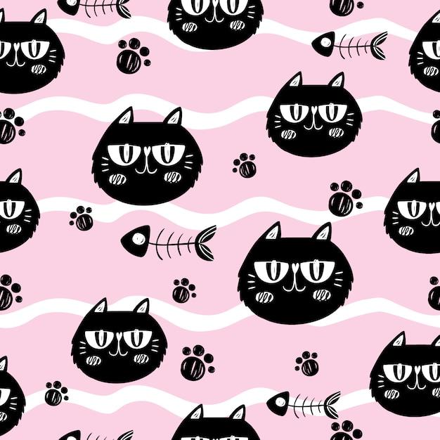 Gatos e fishbones no fundo cor-de-rosa Vetor grátis