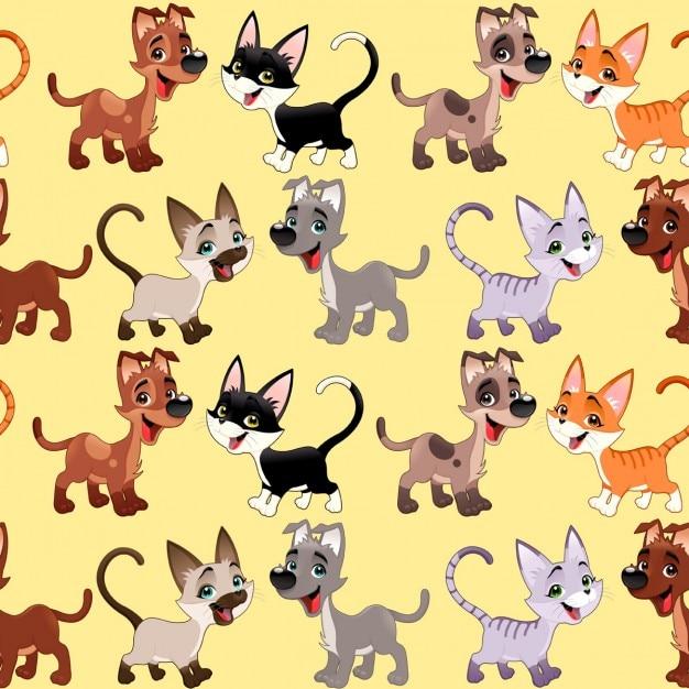 Gatos e os cães engraçados com fundo os lados repetir perfeitamente para uma possível embalagens ou gráfico Vetor grátis