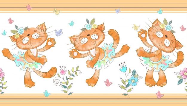 Gatos engraçados dançando fronteira sem emenda Vetor Premium