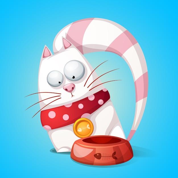 Gatos engraçados e fofos de personagem de desenho animado. o animal come da tigela. Vetor Premium