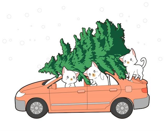 Gatos fofos com árvore de natal em um carro Vetor Premium