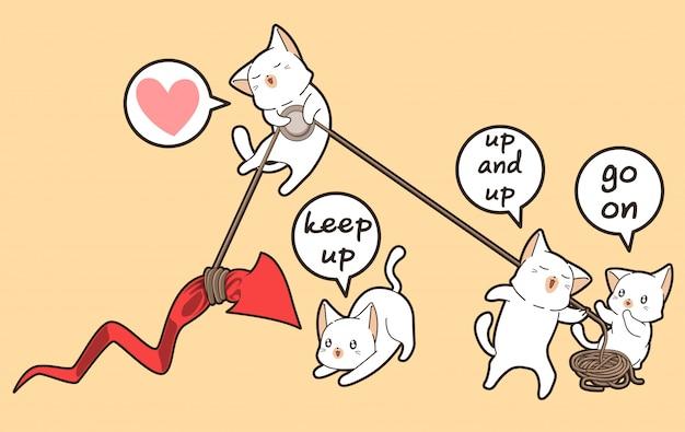 Gatos kawaii estão levantando a seta vermelha para cima Vetor Premium