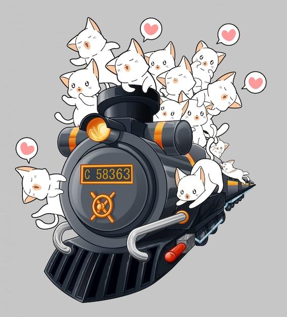 Gatos kawaii na locomotiva em estilo cartoon. Vetor Premium