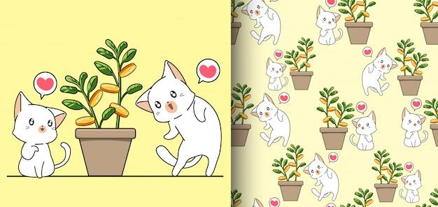 Gatos kawaii sem costura padrão e árvore do dinheiro em um vaso Vetor Premium