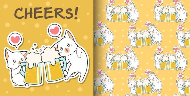 Gatos kawaii sem emenda estão bebendo padrão Vetor Premium