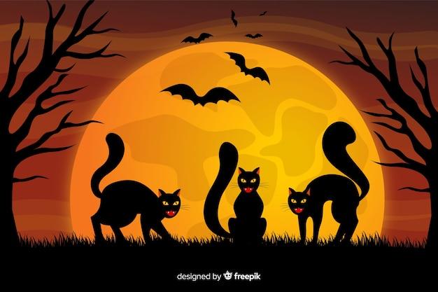 Gatos pretos e fundo de dia das bruxas lua cheia Vetor grátis