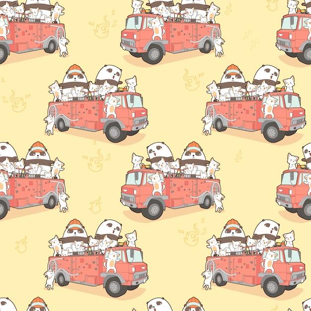 Gatos sem emenda do kawaii e bombeiro da panda no teste padrão do carro de bombeiros. Vetor Premium