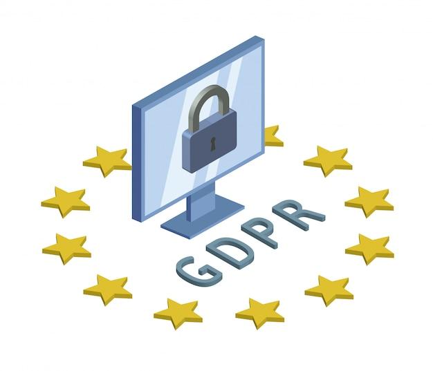 Gdpr, ilustração isométrica do conceito. regulamento geral de proteção de dados. proteção de dados pessoais. monitor e bloqueio do computador. emblema, em branco. Vetor Premium