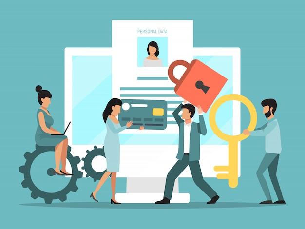Gdpr. proteção de dados pessoais na internet. segurança online, privacidade na web do banco de dados pessoal. pessoas minúsculas protegem informações em laptops grandes Vetor Premium