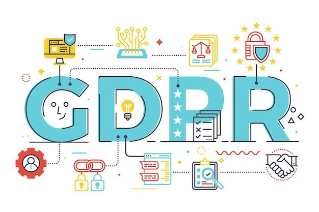 Gdpr (regulamento geral de proteção de dados) Vetor Premium