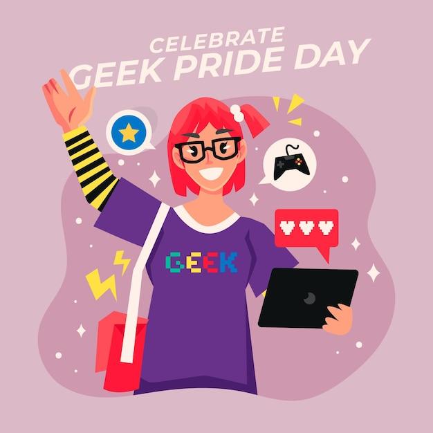 Geek orgulho dia mulher feliz usando óculos Vetor grátis