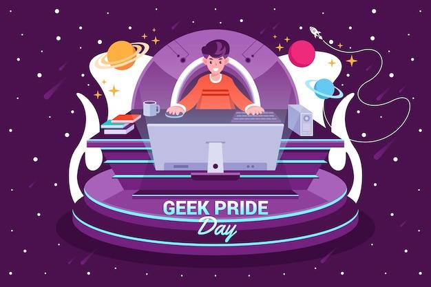 Geek pride day Vetor grátis