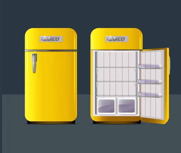 Geladeira amarela retrô em estilo realista isolado Vetor Premium