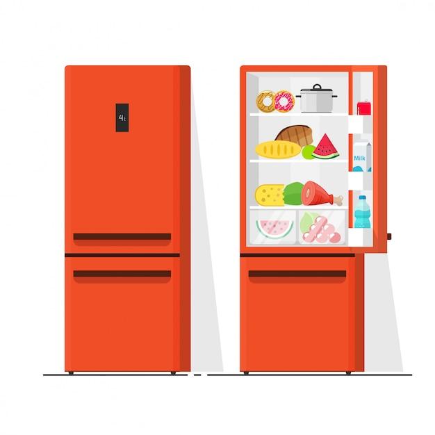 Geladeira cheia de desenhos animados plana de ilustração vetorial de comida Vetor Premium