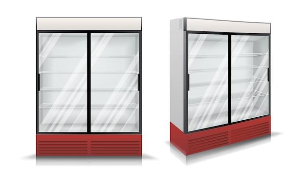 Geladeira com duas portas de correr de vidro Vetor Premium